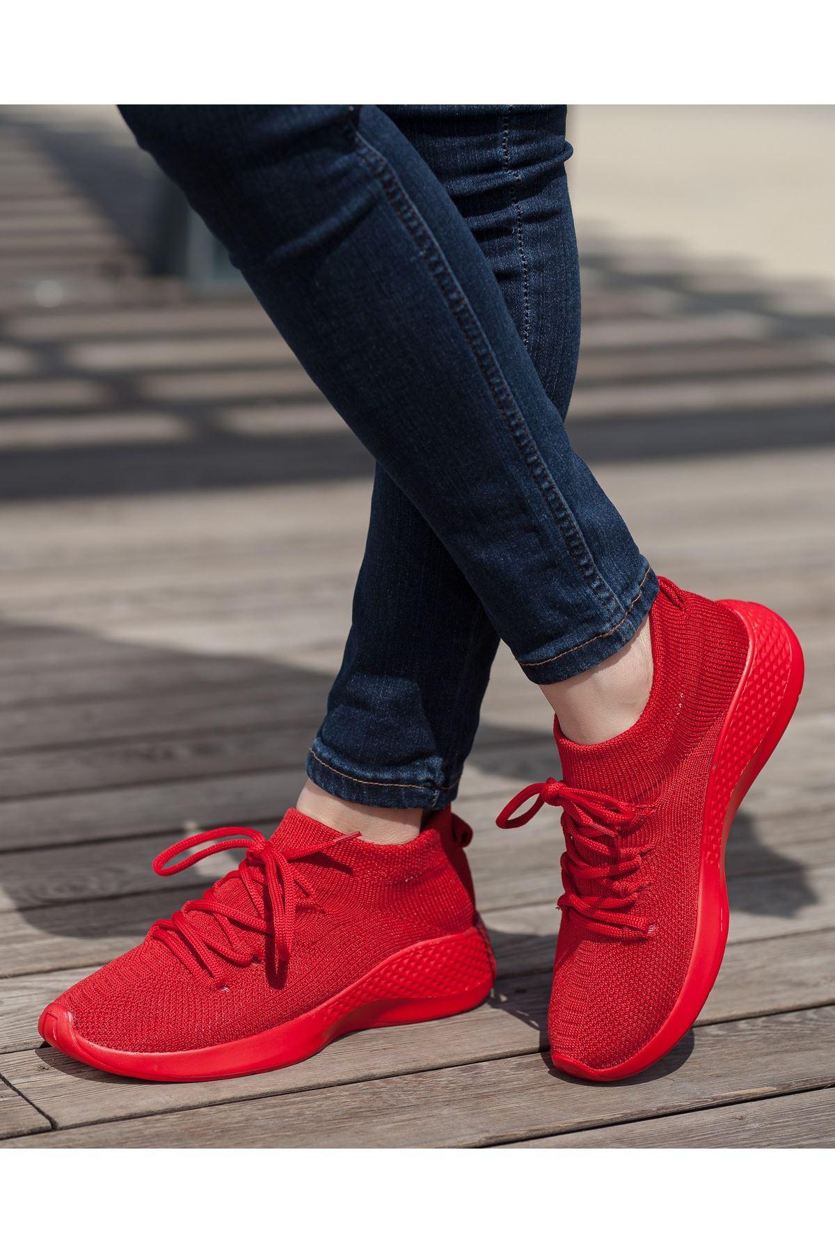 Aleyna Kırmızı Triko  Kadın Spor Ayakkabı