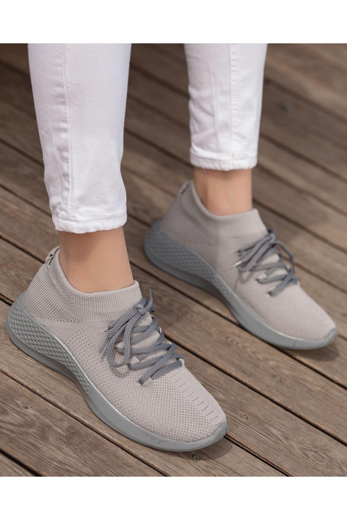 Aleyna Gri Triko Kadın Spor Ayakkabı
