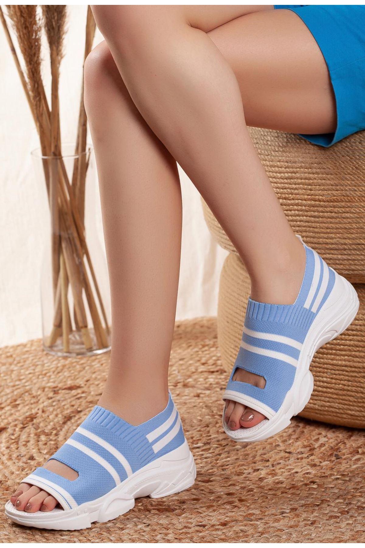 Hera Bebe Mavisi Triko Bayan Spor Ayakkabı