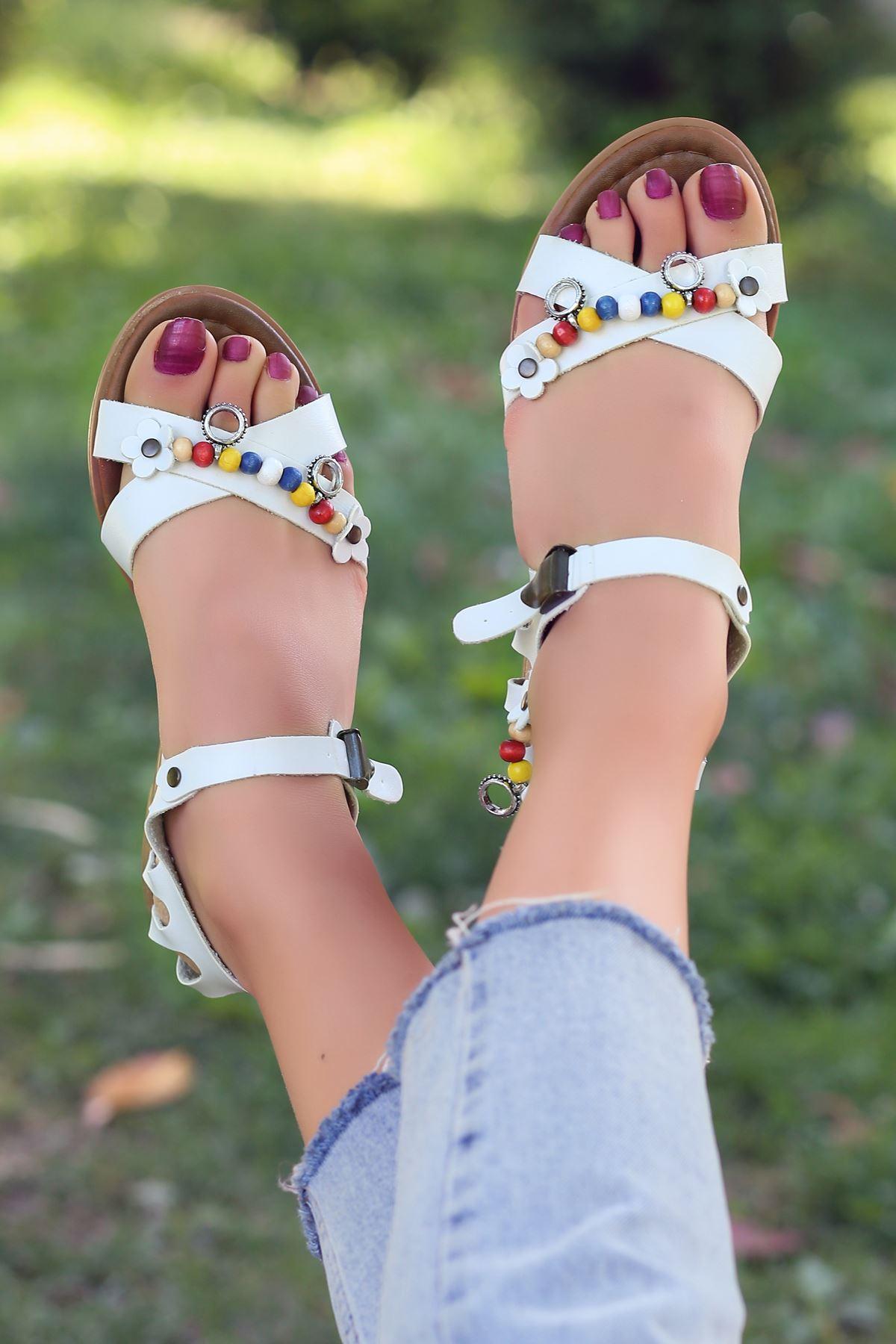 Benita Hakiki Deri Beyaz Günlük Kadın Sandalet