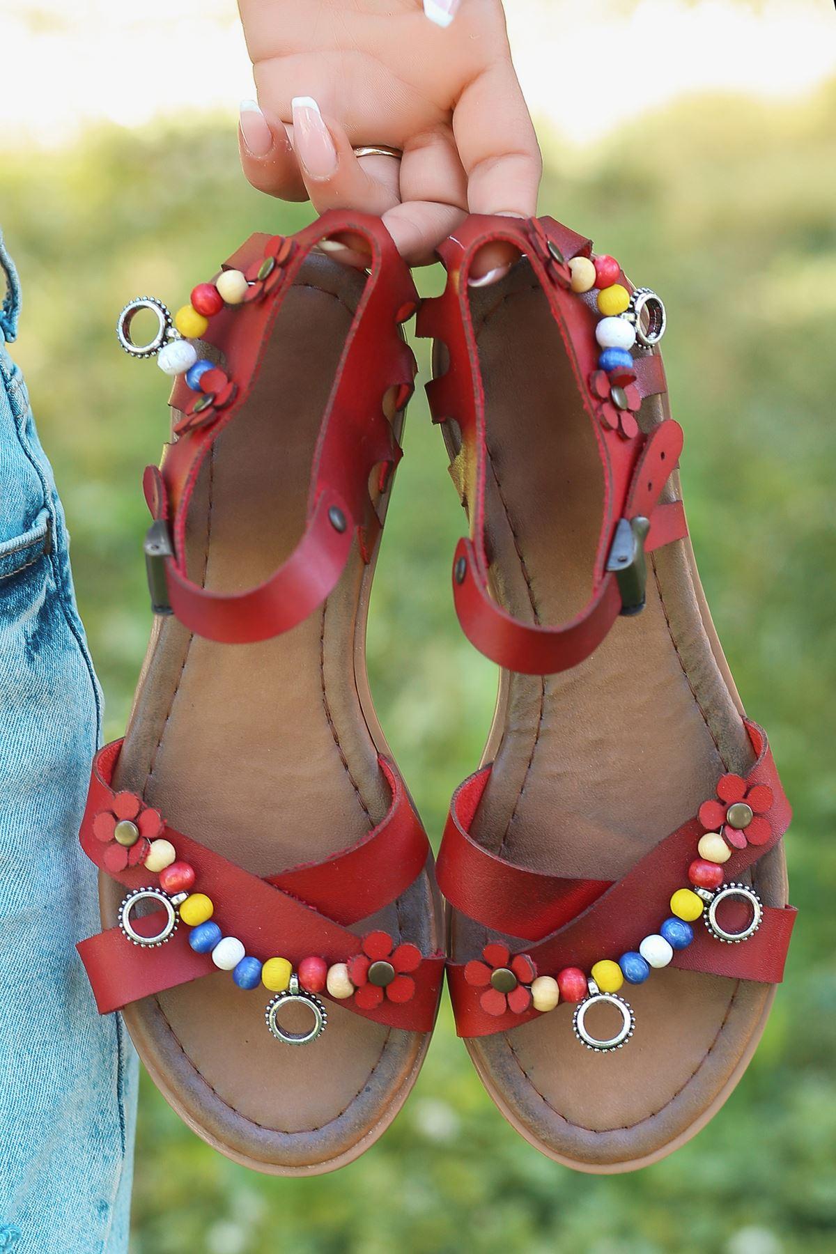 Benita Hakiki Deri Kırmızı Günlük Kadın Sandalet