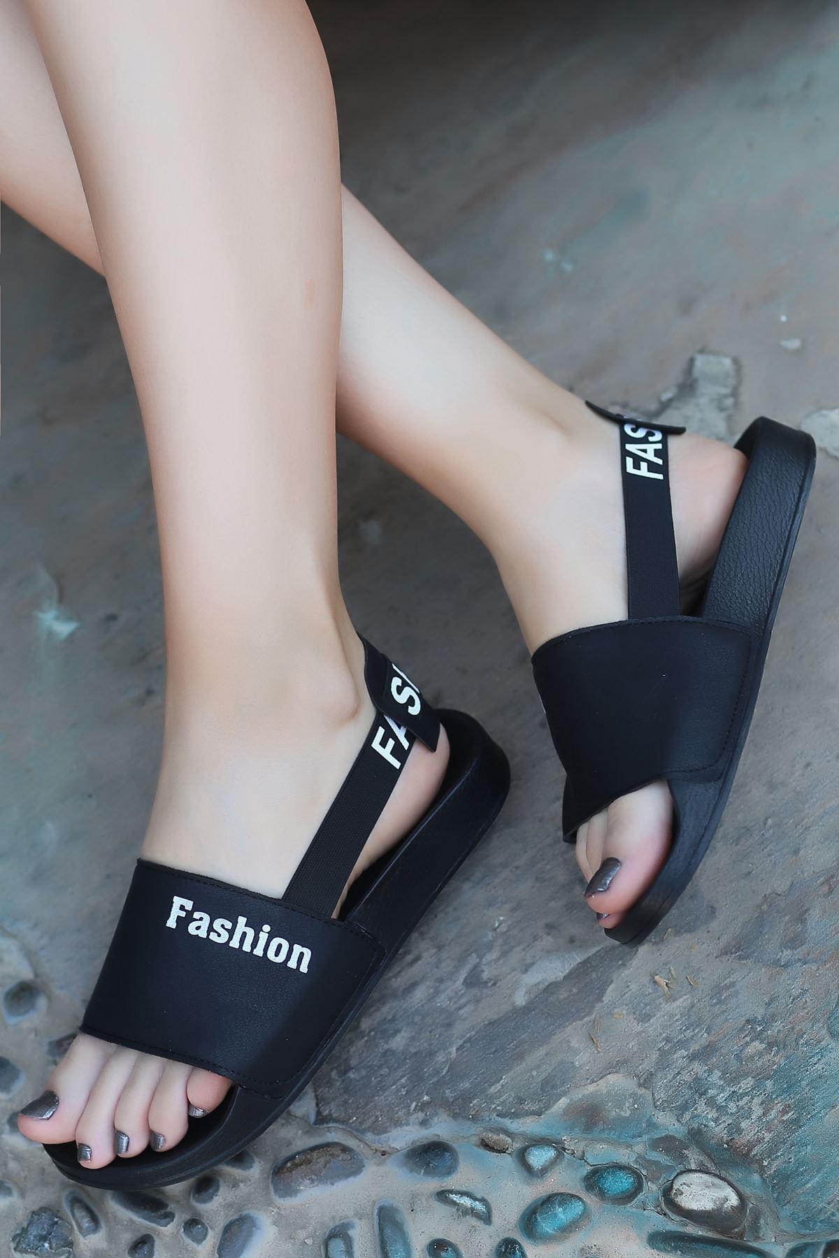 Leaf Siyah Kaymaz Taban Kadın Sandalet