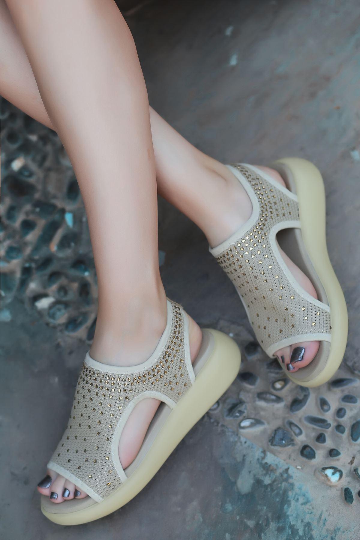 Cosmos Vizon Taşlı Kadın Günlük Sandalet