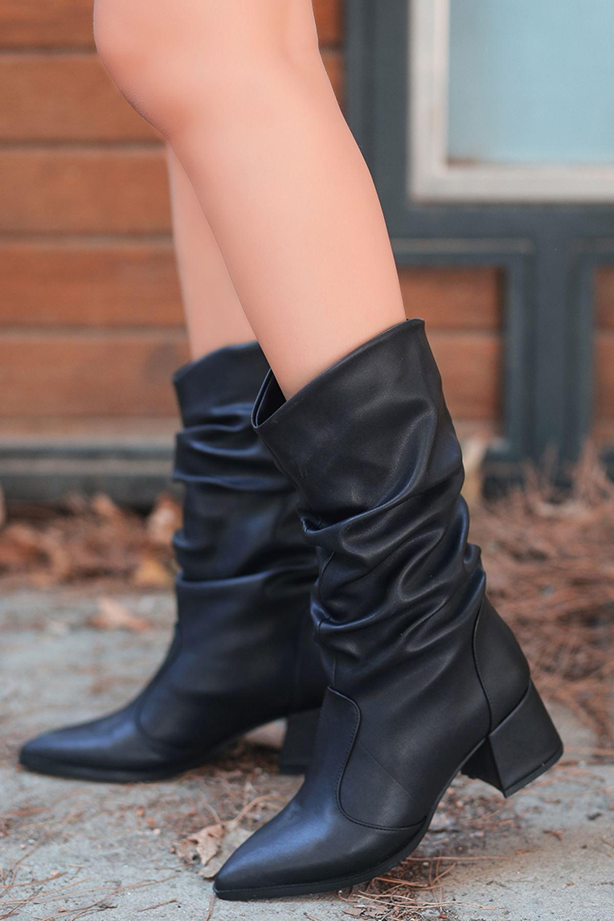 Lalik Siyah Suni  Deri Lüks Kadın Dizaltı Çizme