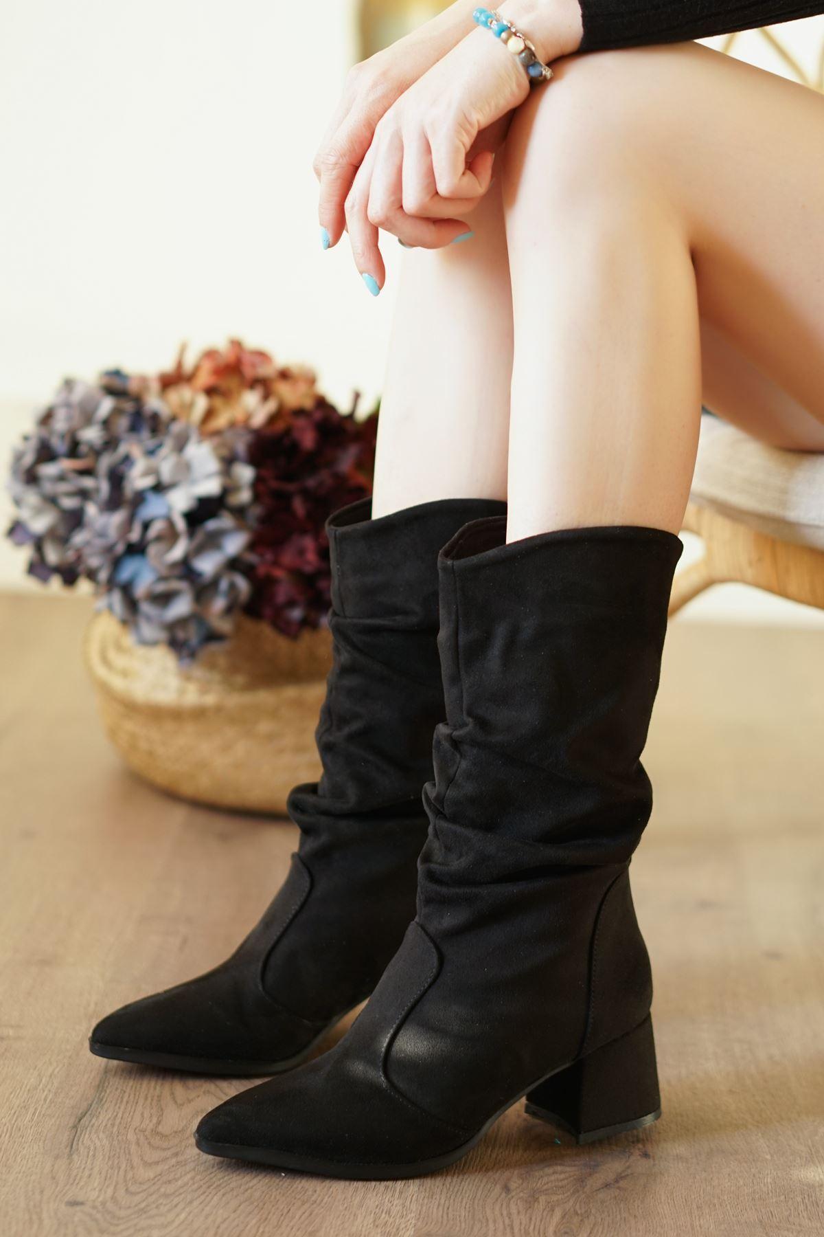 Lalik Siyah Süet Lüks Kadın Dizaltı Çizme