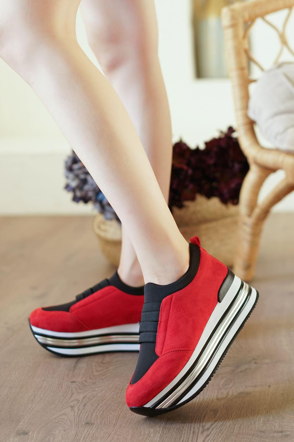 Smyrna Kırmızı Süet Kadın Spor Ayakkabı