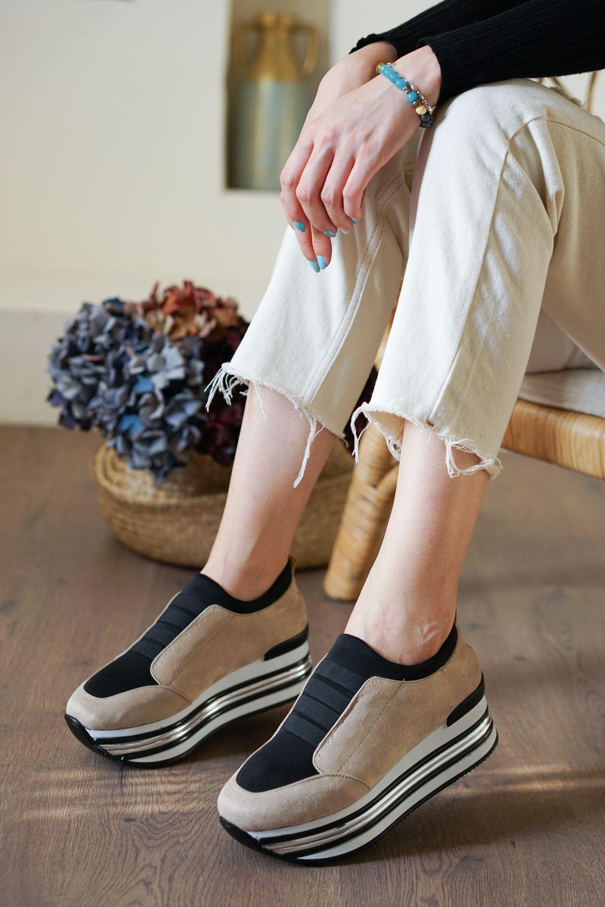 Smyrna Vizon Süet Kadın Spor Ayakkabı
