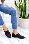Kalispe Siyah Hakiki Deri Günlük Babet Bayan Ayakkabı