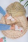 Perjin Beyaz Dantel Triko Yüksek Topuk Bayan Terlik