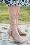 Fanny Krem Fileli İnce Topuklu Kadın Ayakkabı