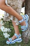 Petra Bebe Mavisi Çift Bantlı Kalın Tabanlı Kadın Sandalet